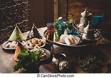 tradizionale, marocchino, biscotti, e, té menta