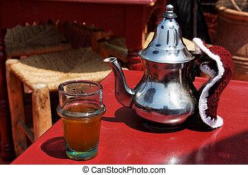 tradizionale, marocchino, menta, tea.