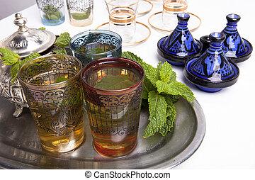 tradizionale, marocchino, té menta
