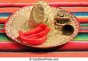 tradizionale, messicano, fiesta, poncho, tappeto, in, colori luminosi, con, sombrero