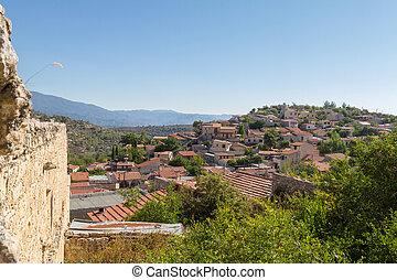 tradizionale, montagna, lofou, cipro, villaggio