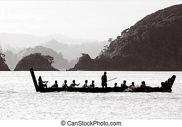tradizionale, nuovo, maori, waka, zelanda