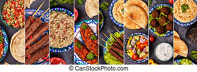 tradizionale, orientale, collage, arabo, mezzo, piatto, pietanza, o