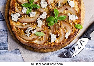 tradizionale, pera, pizza