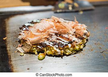 tradizionale, pizza, giapponese, okonomiyaki