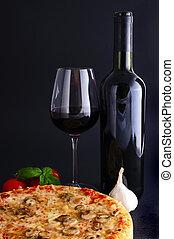 tradizionale, pizza, vino rosso
