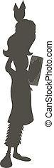 tradizionale, ragazza, silhouette