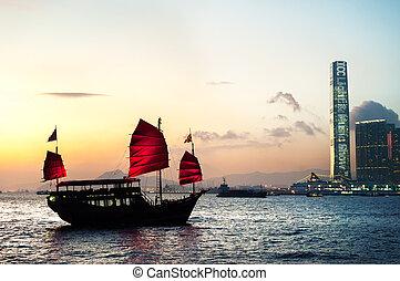 tradizionale, rifiuto, incrocio, porto victoria, hong kong