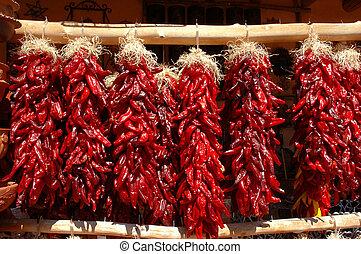 tradizionale, rosso, peperoncino, ristras, appendere, in, mercato aria aperta