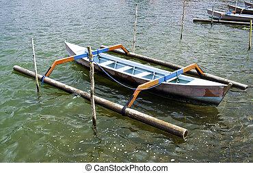 tradizionale, rurale, indonesiano, barca