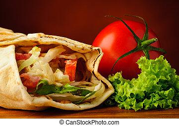 tradizionale, shawarma, verdura