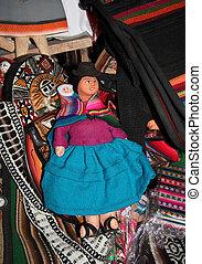 tradizionale, straccio, boliviano, bambola