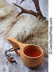 tradizionale, tè, kuksa, finlandese, tazza
