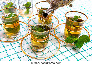 tradizionale, tè, menta, marocchino