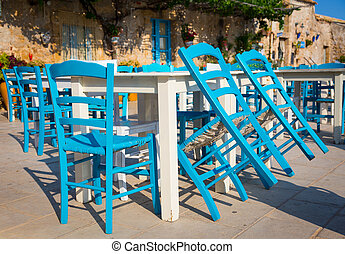 tradizionale, tavoli, italiano, sicilia, ristorante