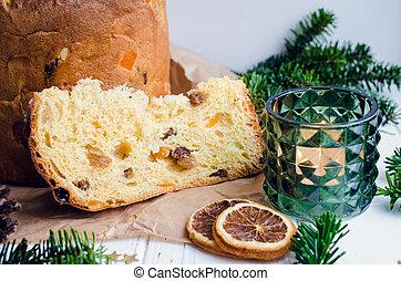 tradizionale, torta, panettone, natale, italiano