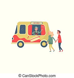 tradizionale, truck., furgone, allegro, appartamento, mano., giovane, digiuno, venditore, ondeggiare, vettore, strada, disegno, cibo., coppia, wurstel