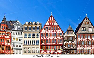 tradizionale, vecchio, costruzioni, francoforte