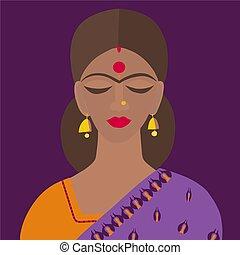 tradizionale, vettore, indiano, sari, dupatta, donna, vestiti, illustrazione