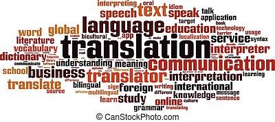 tradução, palavra, cloud.eps