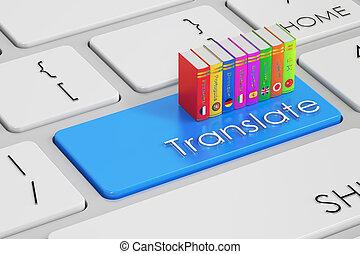 traducir, concepto, en, teclado, 3d, interpretación