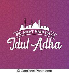 traducir, eid, al, idul, selamat, raya, logotype., mubarak, hari, adha