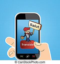 traduction, concept, app