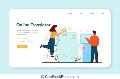 traduzione, web, o, servizio, bandiera, pagina, translator, ...