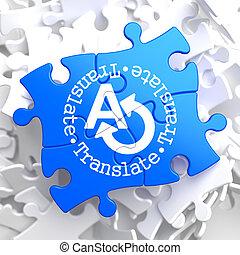 traduzir, azul, conceito, puzzle.
