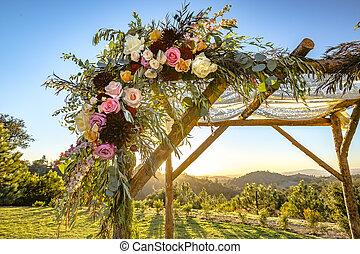 tradycje, żydowski, do góry, huppah, chuppah, ślub, zamknięcie, baldachim, kwiaty, albo, ceremony.
