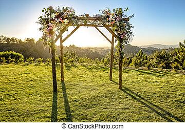 tradycje, żydowski, słońce, to, za, huppah, chuppah, ślub, baldachim, albo, ceremony.