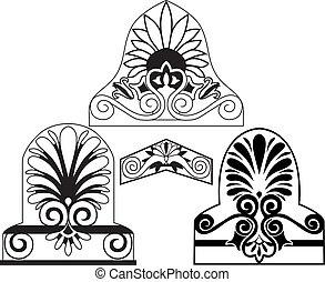tradycyjny, architektoniczny, elemants