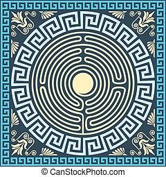 tradycyjny, błękitny, złoty, grek, wektor, (meander, rocznik...