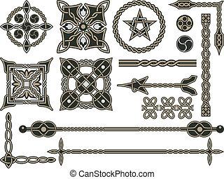 tradycyjny, celtycki, elementy