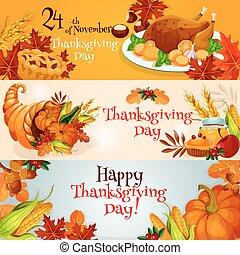 tradycyjny, chorągwie, elementy, dziękczynienie, dzień
