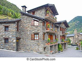 tradycyjny, ciemny, domy, andora, wiejski, cegła, typowy