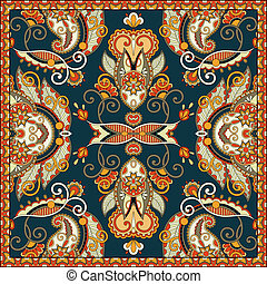 tradycyjny, dekoracyjny, paisley, kwiatowy, barwna chustka