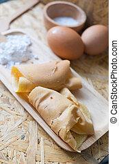 tradycyjny, deser, thai, drewno, taca
