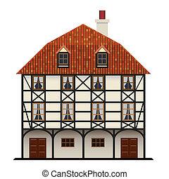 tradycyjny, dom, chata, odizolowany, fachwerk