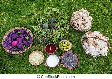 tradycyjny, farbuje, peruwiański, andy, cuzco, peru