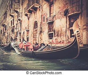 tradycyjny, gondola, wenecja, jazda