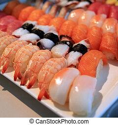 tradycyjny, jadło, sushi, wały, japończyk