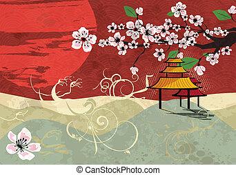 tradycyjny, japończyk, krajobraz