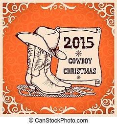 tradycyjny, karta, nowy, obiekty, powitanie, kowboj, western...