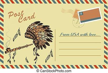 tradycyjny, kartka pocztowa, rocznik wina, pokój, amerykanka, rura, szef, fryzura, krajowiec