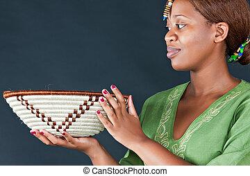 tradycyjny, kobieta, afrykanin