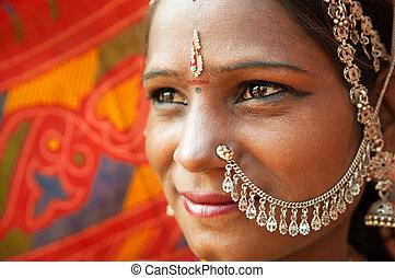 tradycyjny, kobieta, closeup, indianin