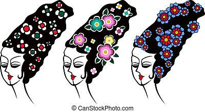 tradycyjny, kobieta, ilustracja