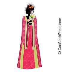 tradycyjny, kobieta, miłośnik, kostium, chińczyk