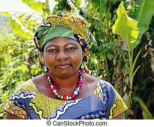 tradycyjny, kobieta, odzież, afrykanin